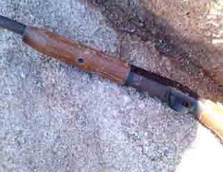 Deputies found a shotgun hidden in a crevice next to a lookout point at a scout position. By Andrew Michalscheck