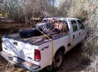 Deputies located a white Ford F-150 that contained 2,010 lbs. of marijuana. By Andrew Michalscheck