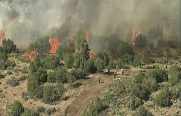 A view from the air on Thursday of the Sunflower Fire near Payson, Ariz. By Mike Gertzman
