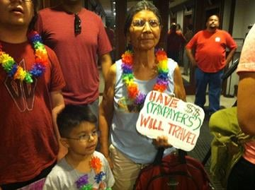 Protesters, angry about Sheriff Arpaio's decision to send a deputy to Hawaii as part of his investigation of President Obama's birth certificate, are asking Arpaio to give them a trip to Hawaii. By Mike Gertzman
