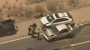 Blowing dust likely caused a multiple vehicle crash on State Route 347 at Riggs Road near Gila River. It happened at around 1:00 p.m on Friday. By Mike Gertzman