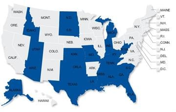 The states in blue have laws allowing citizens to use deadly force without attempting to retreat when threatened outside the home. By Andrew Michalscheck