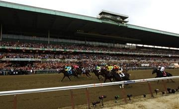 ELMONT, NY - JUNE 09:  A general view of the start of the 144th running of the Belmont Stakes at Belmont Park on June 9, 2012 in Elmont, New York.  (Photo by Al Bello/Getty Images) By Al Bello