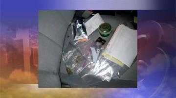 Several drug paraphernalia items inside Kirk Hutchins' vehicle By Jennifer Thomas