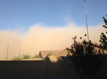 A view of the dust storm on Saturday evening from Youngtown, Ariz. By Mike Gertzman