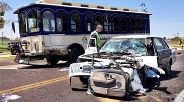A trolley and a Honda Accord crashed Thursday near Roosevelt and 77th streets in Scottsdale. By Jennifer Thomas
