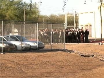 Deputies from the Maricopa County Sheriff's Office staging for protest outside Tent City jail. By Mike Gertzman
