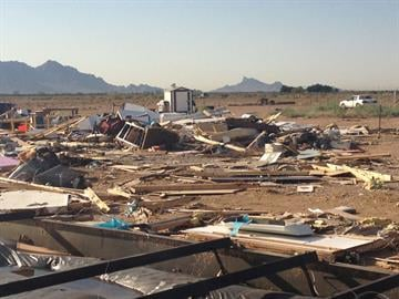 Several structures in Eloy were damaged by strong winds Wednesday night. By Jennifer Thomas