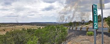 Panoramic shot of the Canyon Fire, seen from milepost 312 on Highway 87, looking northwest. Photo taken on July 2. By Jennifer Thomas