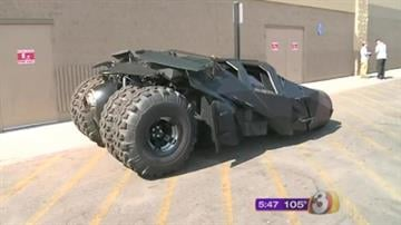"The original vehicles driven by Batman in Christopher Nolan's the ""Dark Knight"" trilogy cruised into Phoenix on Monday in celebration of the highly anticipated release of ""The Dark Knight Rises."" By Mike Gertzman"