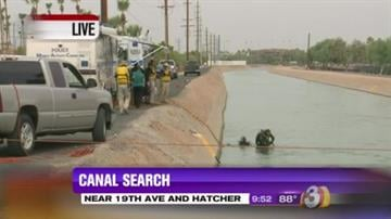 The Phoenix Police Dive Team searched a canal near 19th Avenue and Hatcher Road. By Jennifer Thomas