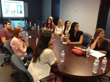 ASU Students listen as Carey and Fields speak at a 3TV Talk and Tour By Christina Duggan