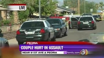 A man and a woman were transported to a hospital Friday morning after they were assaulted inside their Peoria home. By Jennifer Thomas
