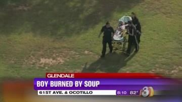 A 2-year-old boy was air-lifted to the Maricopa County Medical Center Burn Unit after being burned by soup. By Jennifer Thomas
