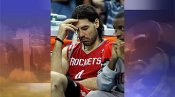 Houston Rockets power forward Luis Scola reacts in the second half of an NBA basketball game against the New Orleans Hornets in New Orleans Thursday, April 19, 2012. By Jennifer Thomas