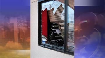 Someone used a rock to smash the front window of HALO Animal Rescue. By Jennifer Thomas
