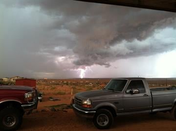 This picture was taken just before the rain fall here in Tuba City, AZ. By Catherine Holland