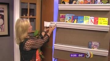 You can use an L-shaped corner piece to place your shelves on a corner wall. By Catherine Holland