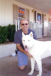 Jeff Block and his dog Blue. By Andrew Michalscheck
