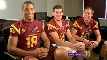 ASU's quarterback candidates from left to right, Michael Eubank, Mike Bercovici, Taylor Kelly By Mike Gertzman