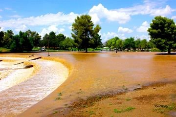 Flooding at the greenbelt park in Scottsdale - McDowell & 77th Street By Mike Gertzman