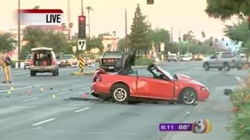 One person is dead after a pickup truck plowed into a Mustang after allegedly running a red light. By Catherine Holland