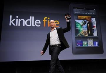 Amazon CEO Jeff Bezos introduces the new Kindle Fire tablet in New York, on September 28, 2011. The Fire is expected to go up against Apple's iPad2. AFP PHOTO/Emmanuel Dunand (Photo credit should read EMMANUEL DUNAND/AFP/Getty Images) By EMMANUEL DUNAND