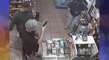Police are searching for two suspects wanted in an armed robbery at Tumbleweed Gas Mart at Indian School Road and 27th Avenue in Phoenix. By Jennifer Thomas