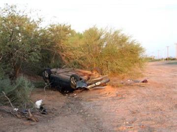 A vehicle crashed in the area of Cactus Forest and Custer roads in Florence on Sept. 2. By Jennifer Thomas