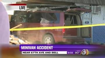 Four people are in the hospital after the driver of a minivan became distracted and plowed into a building in Glendale. By Catherine Holland