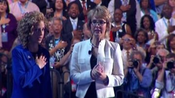 Gabrielle Giffords has inspired the cheering delegates at the Democratic National Convention by leading the Pledge of Allegiance. By Mike Gertzman