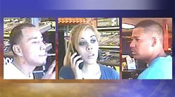 Photos of two male suspects and a female person of interest in an armed robbery at a Circle K. By Jennifer Thomas