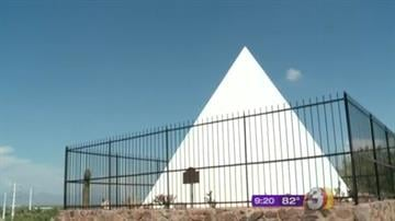 The small white pyramid sitting in the middle of Phoenix's Papago Park is the tomb of Arizona's first governor, George W.P. Hunt. By Jennifer Thomas
