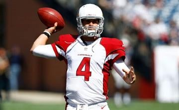 FOXBORO, PA - SEPTEMBER 16:  Kevin Kolb #4 of Arizona Cardinals warms up prior to the game against the New England Patriots on September 16, 2012 at Gillette Stadium in Foxboro, Massachusetts.  (Photo by Jared Wickerham/Getty Images) By Jared Wickerham