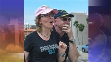 """Former Rep. Gabrielle Giffords was """"elated,"""" and the last commander of the space shuttle Endeavour said """"That's my spaceship,"""" as the retired shuttle flew over Tucson in the couple's honor Thursday. By Mike Gertzman"""