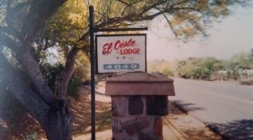 "A tin sign with red lettering that reads ""El Oeste Lodge"" was taken from a home near Camelback Road and 56h Street. By Jennifer Thomas"