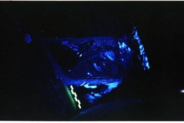 This Luminal evidence photo, according police shows there was large amount of blood on the seat By Mike Gertzman