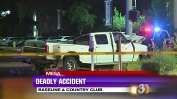 One person is dead, several others are in the hospital and yet more have been taken into custody by Customs Immigration and Enforcement after a pickup truck slammed into a pole at a major Mesa intersection overnight. By Catherine Holland