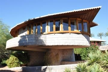 A Phoenix home designed by noted architect Frank Lloyd Wright had been threatened with demolition but is now about to go on the market. | David Wright House West View By Keith Woods, KB Woods Public Rel