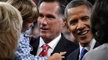 President Barack Obama and Republican presidential nominee Mitt Romney meet family members after the third presidential debate at Lynn University, Monday, Oct. 22, 2012, in Boca Raton, Fla. (AP Photo/Pool-Michael Reynolds) By Catherine Holland