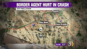 A U.S Border Patrol agent was injured in an ATV crash near Gila Bend. By Jennifer Thomas