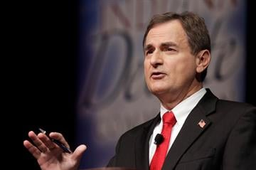 Republican Richard Mourdock, candidate for Indiana's U.S. Senate seat, participates in a debate with Democrat Joe Donnelly and Libertarian Andrew Horning in New Albany, Ind., Tuesday, Oct. 23, 2012. By Mike Gertzman