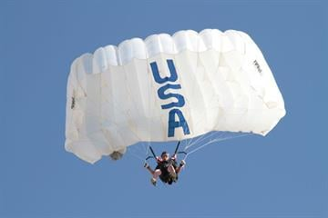 A competitor makes his approach to the accuracy tuffet during the accuracy landing event at the 2012 USPA National Skydiving Championships. By Niklas Daniel
