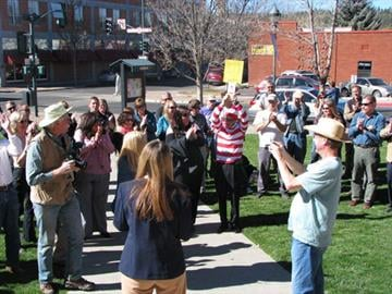 Flagstaff City Manager Kevin Burke (dressed as Waldo) successfully bids on Picture Canyon. By Jennifer Thomas