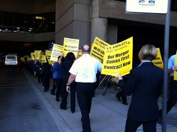 US Airways flight attendants picketed at Sky Harbor International Airport on Wednesday, Nov. 14. By Catherine Holland