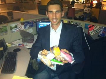 3TV reporter Jared Dillingham showing off the Hostess treats he was able to purchase while working on his story for Friday. By Mike Gertzman