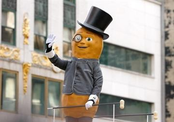 NEW YORK, NY - NOVEMBER 22: Planter's Mr. Peanut attends the 86th Annual Macy's Thanksgiving Day Parade on November 22, 2012 in New York City.  (Photo by Mike Lawrie/Getty Images) By Mike Lawrie