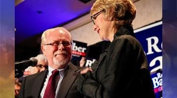 Congressman-elect Ron Barber was joined on Election Night by an elated Gabrielle Giffords. By Catherine Holland