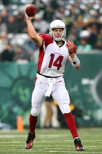 EAST RUTHERFORD, NJ - DECEMBER 02:  Ryan Lindley #14 of the Arizona Cardinals passes the ball in the first quarter against the New York Jets on December 2, 2012 at MetLife Stadium in East Rutherford, New Jersey.  (Photo by Elsa/Getty Images) By Elsa