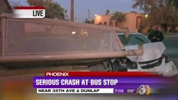 Three people are in the hospital after a woman in her 60s lost control of her car and plowed into a Phoenix bus stop. By Catherine Holland